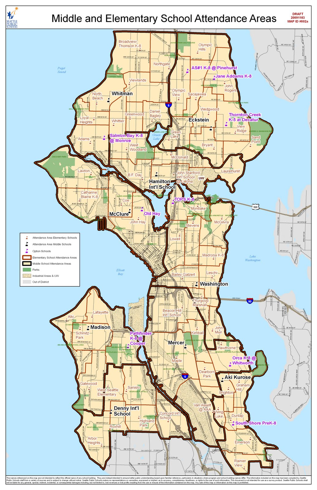 Revised new Seattle Public Schools assignment areas Pinehurst