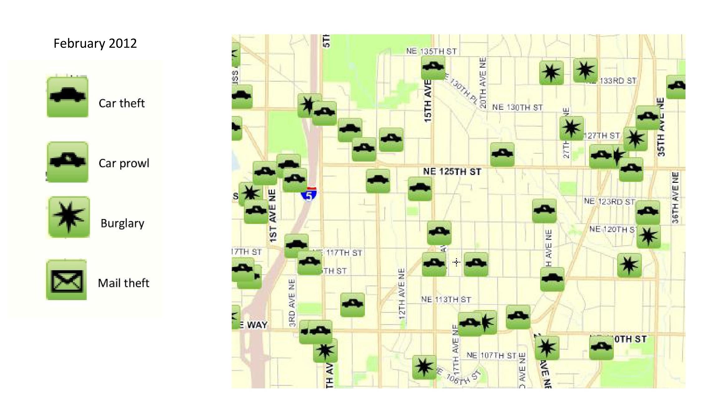 February 2012 Crime Map  Pinehurst Seattle